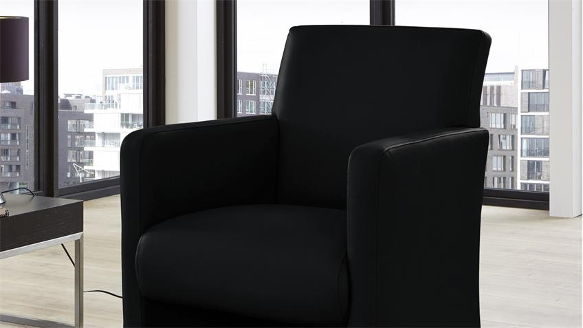 Sessel TODDY Loungesessel Clubsessel Lederlook in schwarz