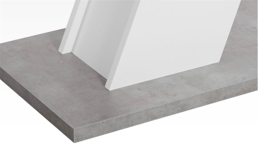Esstisch weiß und Betonoptik Tisch Innsbruck mit Säulenfuß