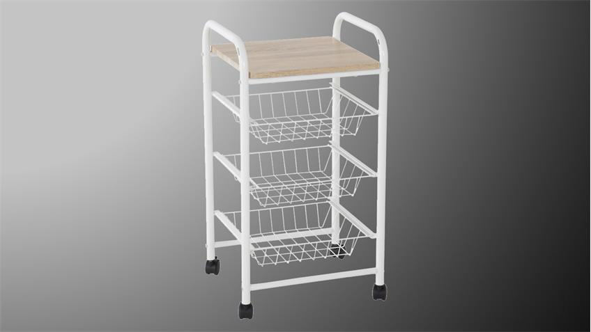 k chenwagen frieda rollwagen in metall wei und natur. Black Bedroom Furniture Sets. Home Design Ideas