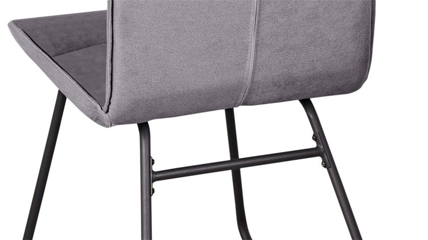 Stuhl ARONA 4er Set Stuhl in grau und Gestell in schwarz