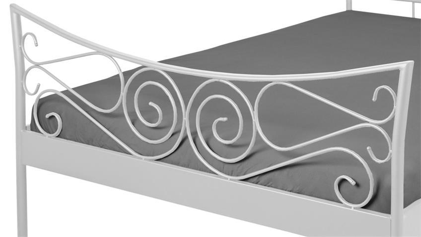 Bettgestell JUSTINE Bett Gestell Metall weiß 180x200 cm