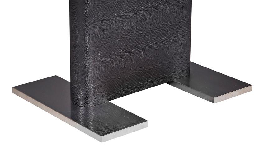 Esstisch STANNY schwarz Hochglanz Schwarzglas 140-180