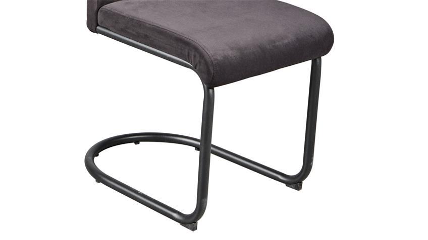 Schwingstuhl PICAFORT 4er-Set Stuhl in Samtstoff schwarz