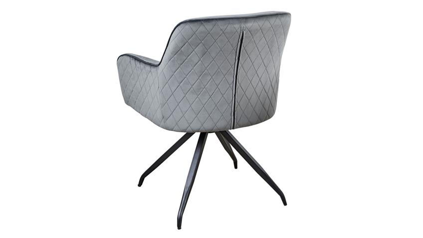 Drehstuhl PHÖNIX 1 Stuhl in Samtstoff anthrazit 360° drehbar