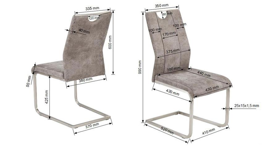 Schwingstuhl TRIESTE 4er-Set Stuhl in Microfaser grau braun