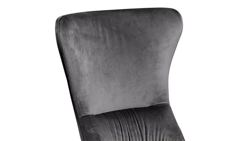 Stuhl AGUAS 4er-Set Samtstoff anthrazit und schwarz matt