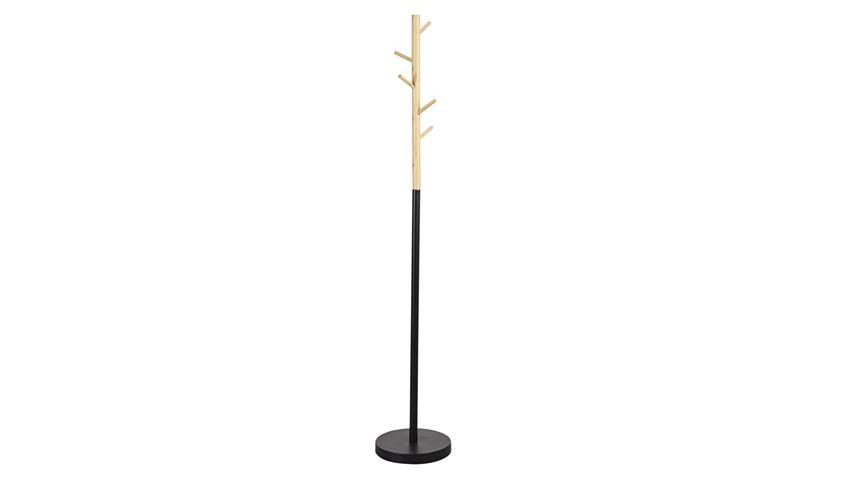 Kleiderständer Vitan Bambus massiv Metall schwarz matt