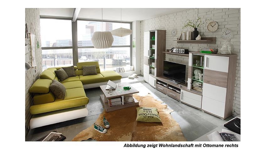 Wohnlandschaft SUN weiß grün inkl. Funktionen OT L 236x260