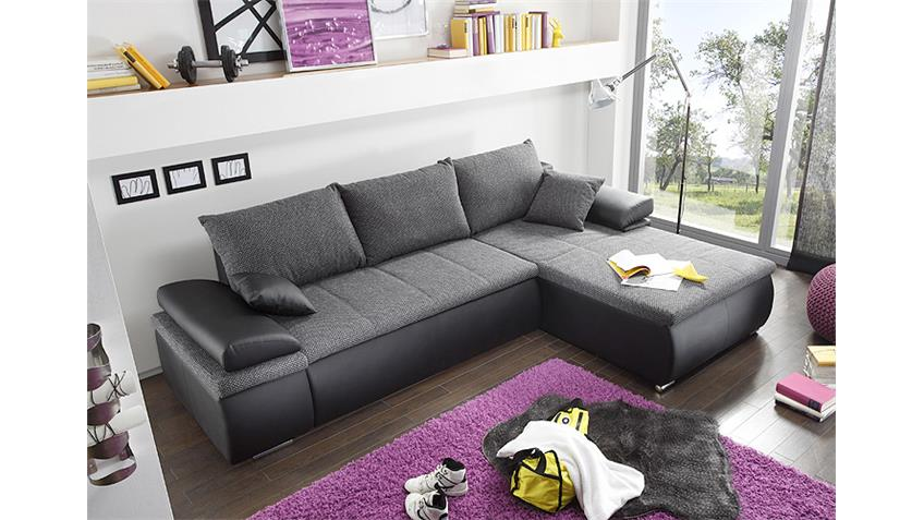 ecksofa celina schwarz und grau inkl funktionen 274x180. Black Bedroom Furniture Sets. Home Design Ideas