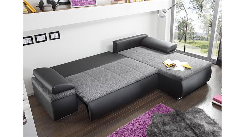 Ecksofa CELINA schwarz und grau inkl. Funktionen 274x180