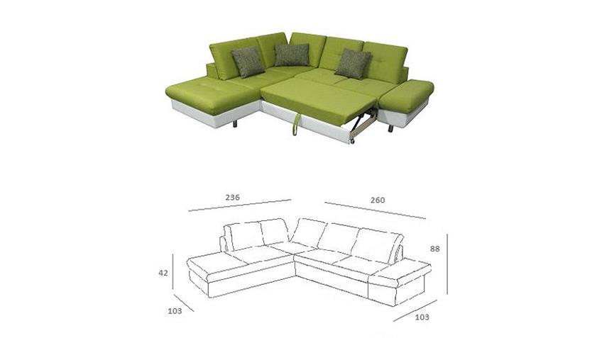 Ecksofa SOLAIRE weiß und grün inkl. Funktionen OT L 236x260
