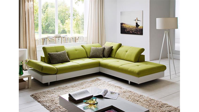 Ecksofa SOLAIRE weiß und grün inkl. Funktionen OT R 260x236