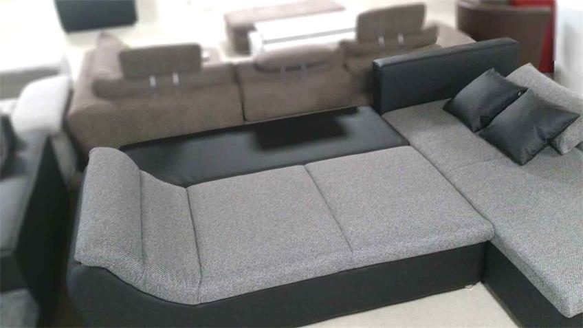 Ecksofa SOLO 300x205 in grau schwarz mit Schlaffunktion