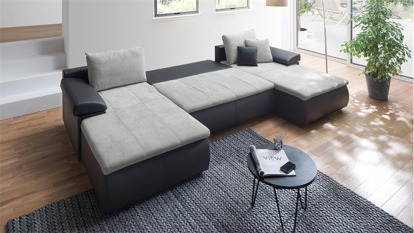 wohnlandschaft hemmingway schwarz grau mit bettfunktion und bettkasten. Black Bedroom Furniture Sets. Home Design Ideas