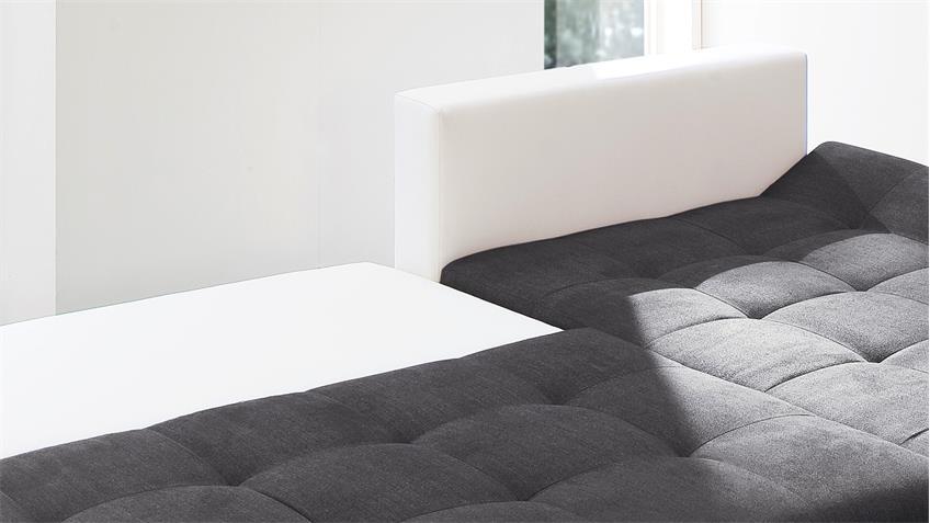 ecksofa pisa wei anthrazit mit bettfunktion und bettkasten 300x165 cm. Black Bedroom Furniture Sets. Home Design Ideas