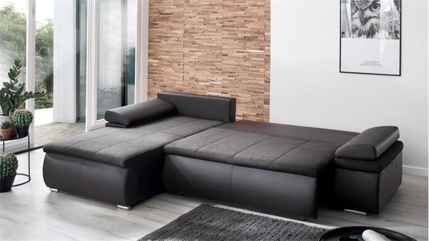 Sofa Celina Recamiere links schwarz grau Schlaffunktion