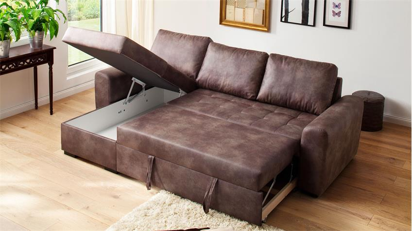 Sofa Trinidad Ecksofa dark brown Schlaffunktion Bettkasten