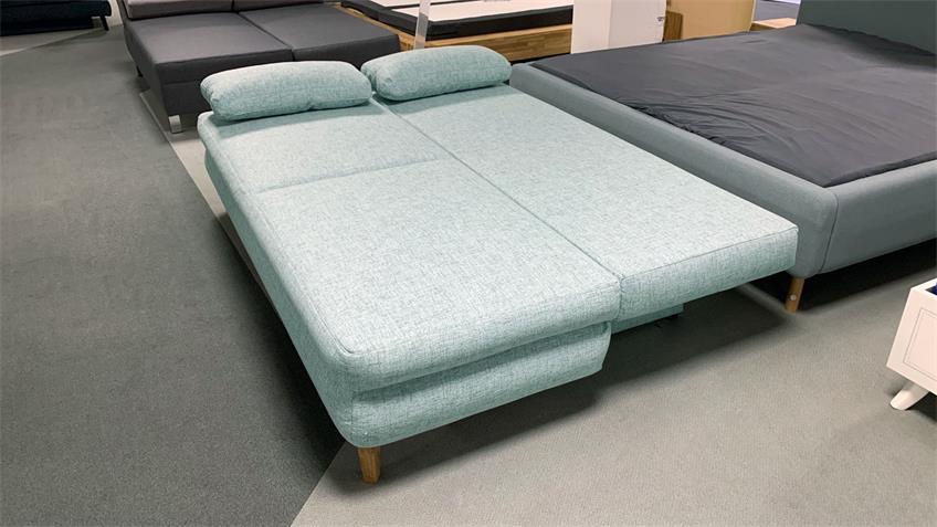 Schlafsofa ROB Stoff mint mit Bettkasten und Kissen 200 cm