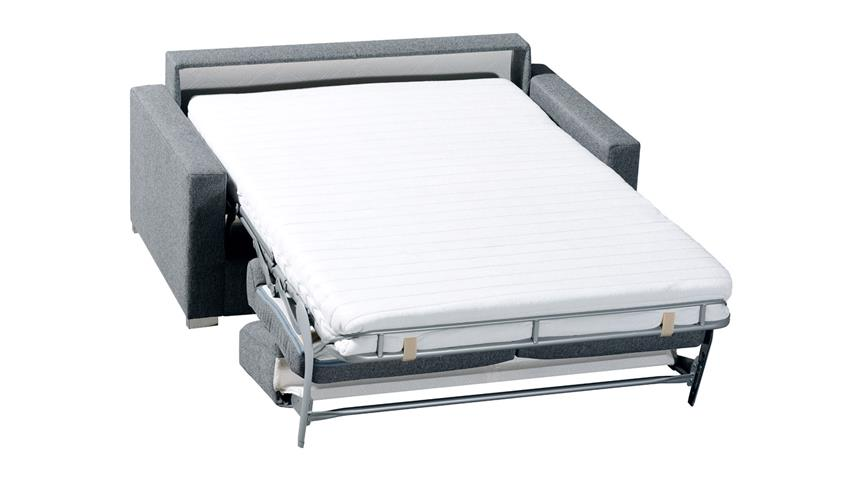 Schlafsofa TESO Dauerschläfer in Stoff grau mit Bettkasten