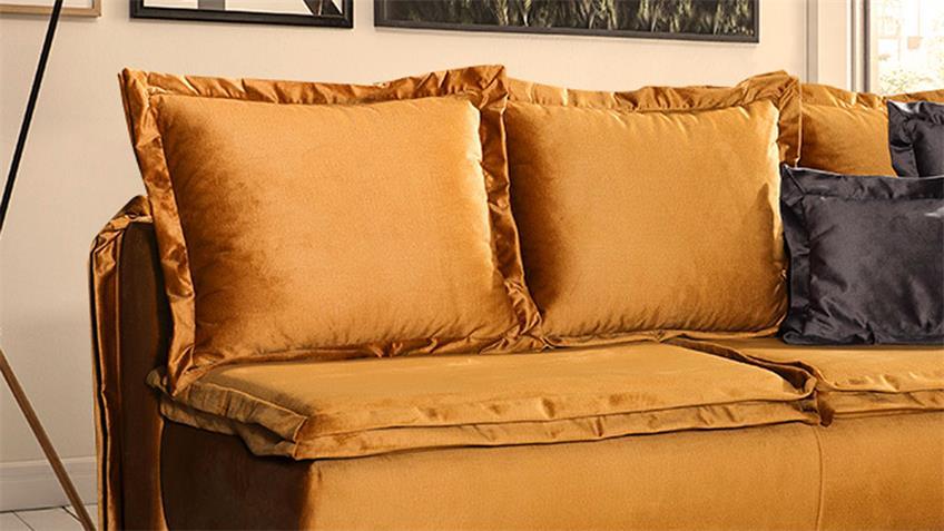 Schlafsofa KELSEA Stoff gold mit Topper Bettkasten 208 cm