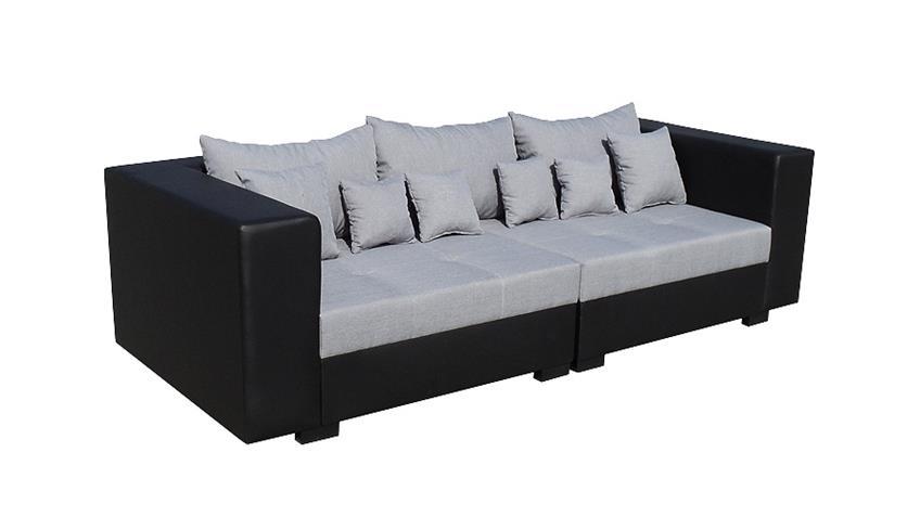 Sofa KING SIZE Schwarz und Grau inkl. Kissen 265 cm