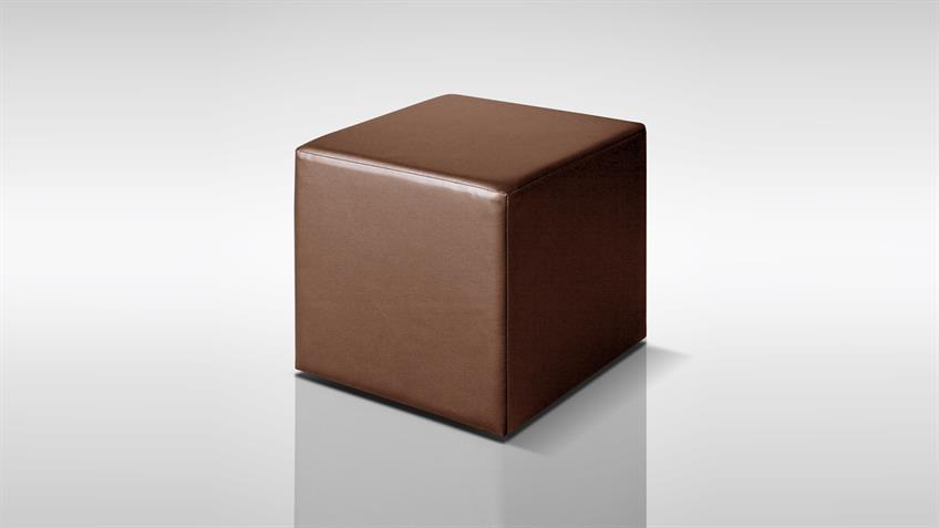 Sitzwürfel KUBUS Polsterhocker in braun Höhe 45 cm