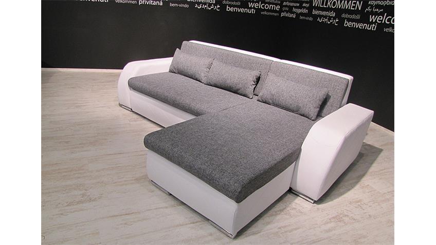 Ecksofa FLENSBURG weiß Webstoff grau mit Kissen OT R 251 cm