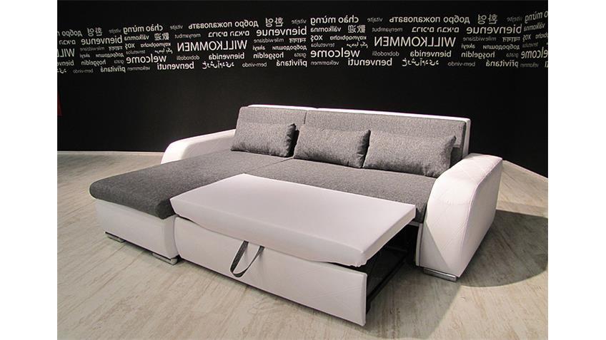 Ecksofa FLENSBURG weiß Webstoff grau mit Kissen OT L 251 cm