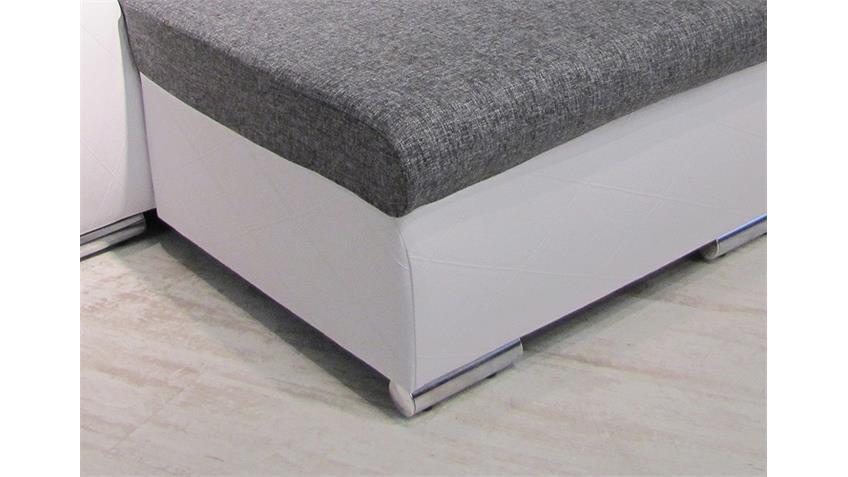 ecksofa flensburg wei webstoff grau mit kissen ot l 251 cm. Black Bedroom Furniture Sets. Home Design Ideas