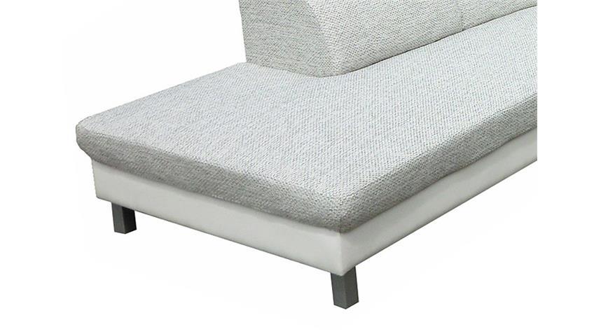Eckgarnitur MERIDA Weiß/Grau Ottomane links 235x262