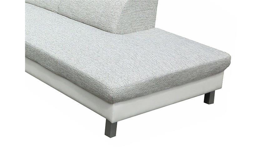 Eckgarnitur MERIDA Weiß/Grau Ottomane rechts 262x235
