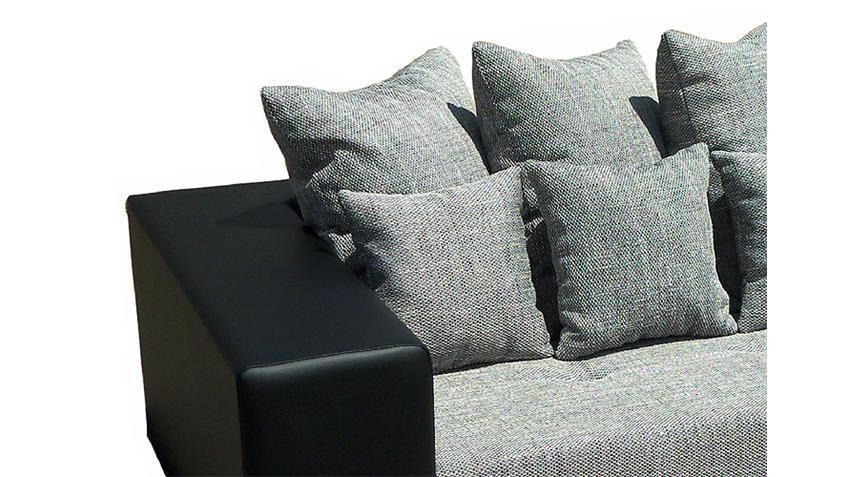 Bigsofa GIGA Schwarz und Grau inkl. Kissen 305 cm
