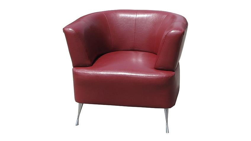 Sessel HOLLY moderner Cocktailsessel Einzelsessel in rot