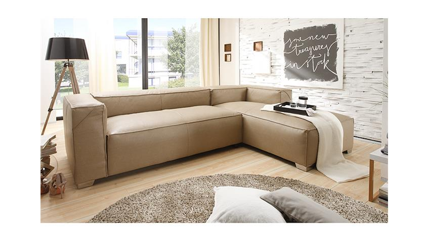 Ecksofa CLOE Wohnlandschaft Sofa in braun grau mit Federung