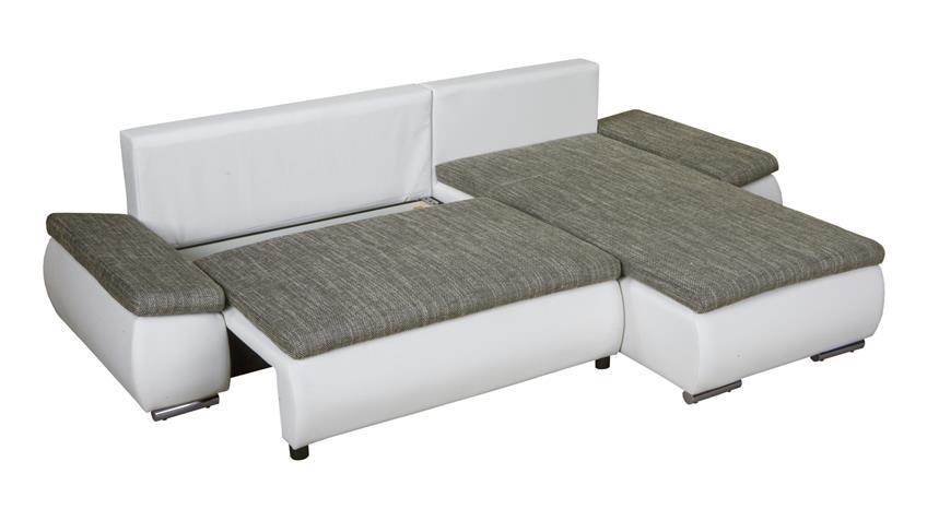 Ecksofa ACRA mit Schlaffunktion und Bettkasten in weiß lawa