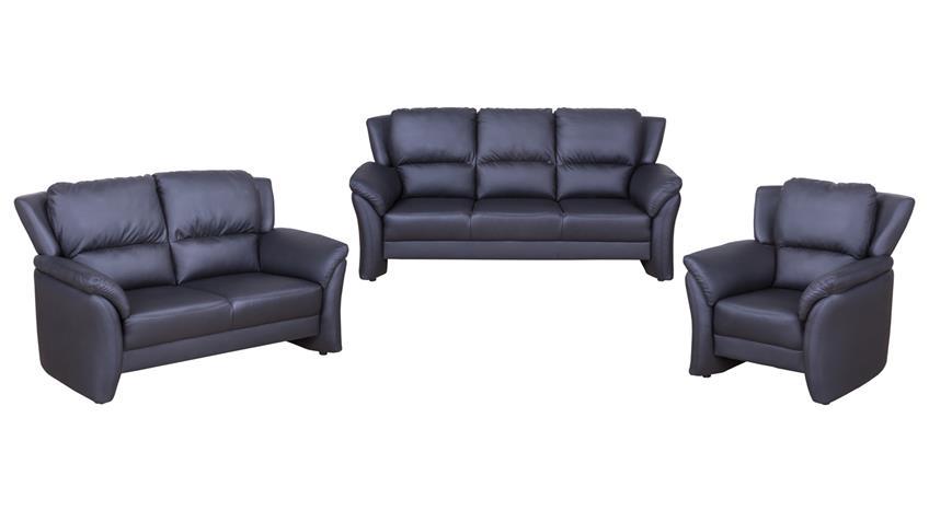 Garnitur 3-2-1 PISA Sofagarnitur Sessel Sofa Polstermöbel in schwarz