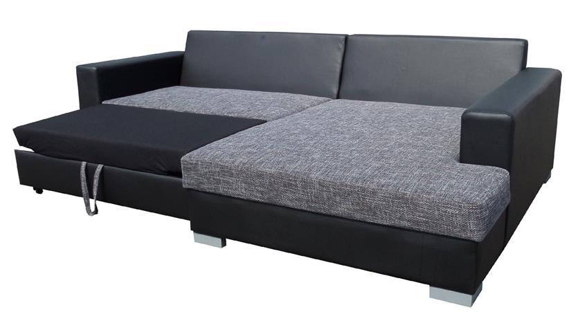 Ecksofa FLAMENCO Schlaffunktion schwarz grau Ottomane rechts