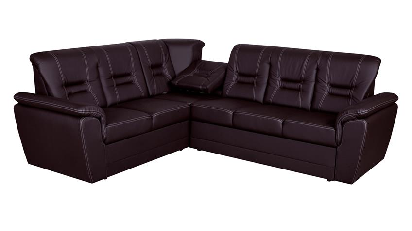 Ecksofa TABITHA Couch mit Schlaffunktion rechts dunkelbraun
