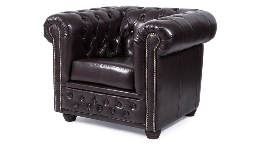 Sessel SHEFFIELD Einzelsessel Chesterfield Lederlook braun