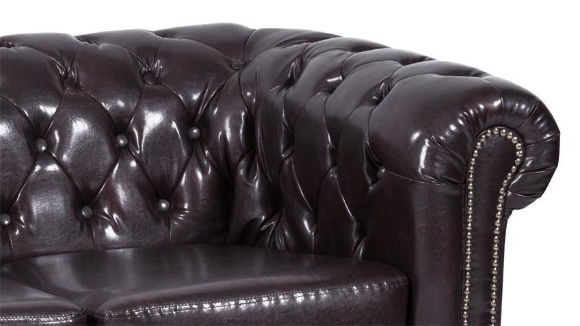 Sofa SHEFFIELD 2-Sitzer Couch antikbraun glänzend Steppung