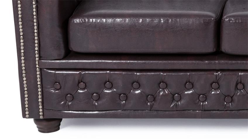Sofa SHEFFIELD 3-Sitzer Couch antikbraun glänzend Steppung
