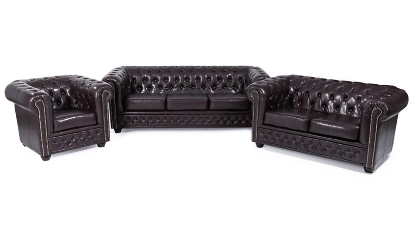 Garnitur 3-2-1 SHEFFIELD Sessel 2 & 3 Sitzer Sofa Lederlook