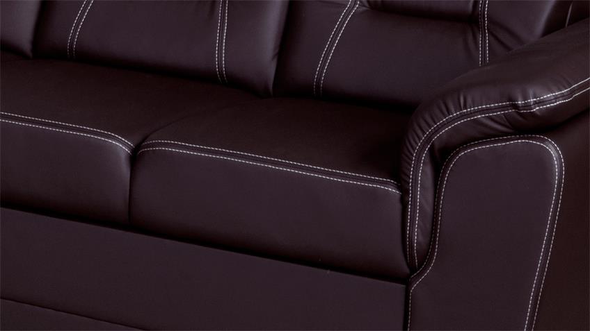 Ecksofa TABITHA Couch mit Schlaffunktion links dunkelbraun