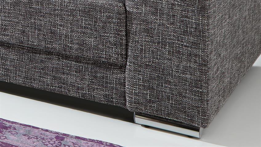 Bigsofa ADRIA Sofa in Webstoff graubraun mit vielen Kissen