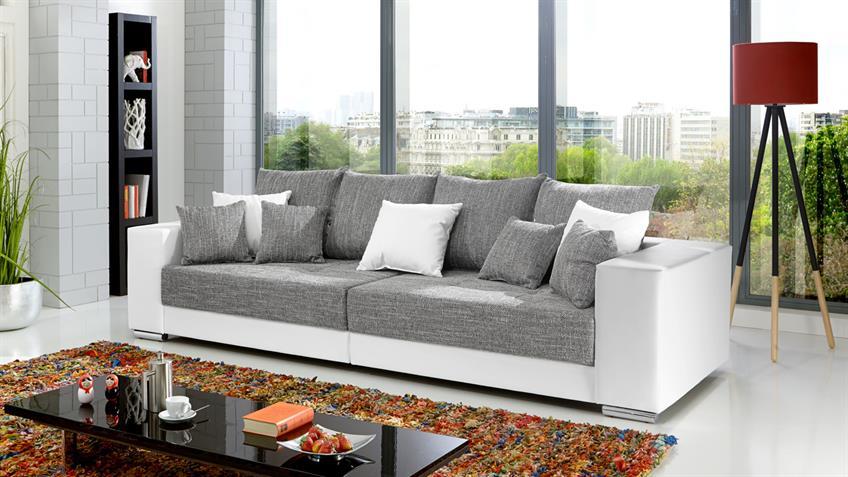 Bigsofa ADRIA Sofa in Lederlook weiß und Bezug Webstoff hellgrau