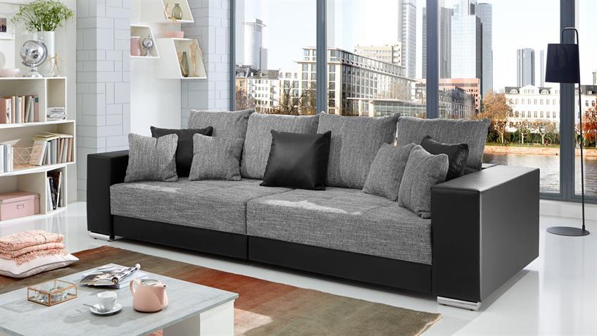 Bigsofa ADRIA Sofa in Lederlook schwarz und Bezug Webstoff hellgrau