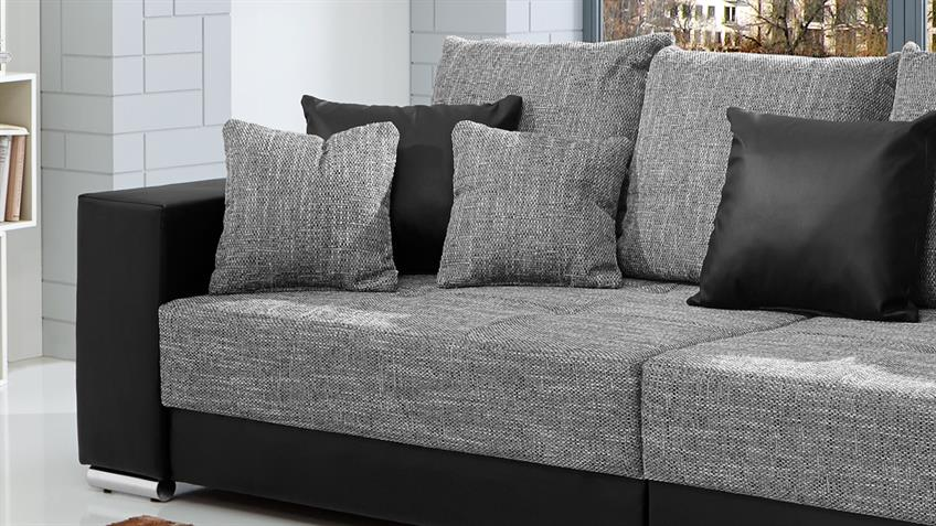 bigsofa adria sofa in lederlook schwarz und bezug webstoff hellgrau. Black Bedroom Furniture Sets. Home Design Ideas