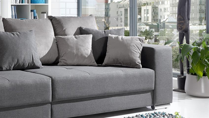 bigsofa adria sofa in stoff grau couch mit vielen kissen. Black Bedroom Furniture Sets. Home Design Ideas