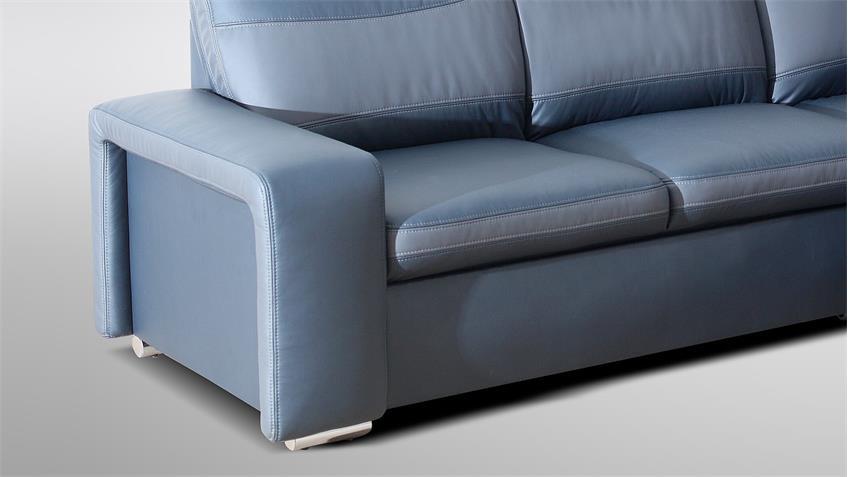 Ecksofa ROAD blau grau inkl. Funktion Nosagfederung rechts