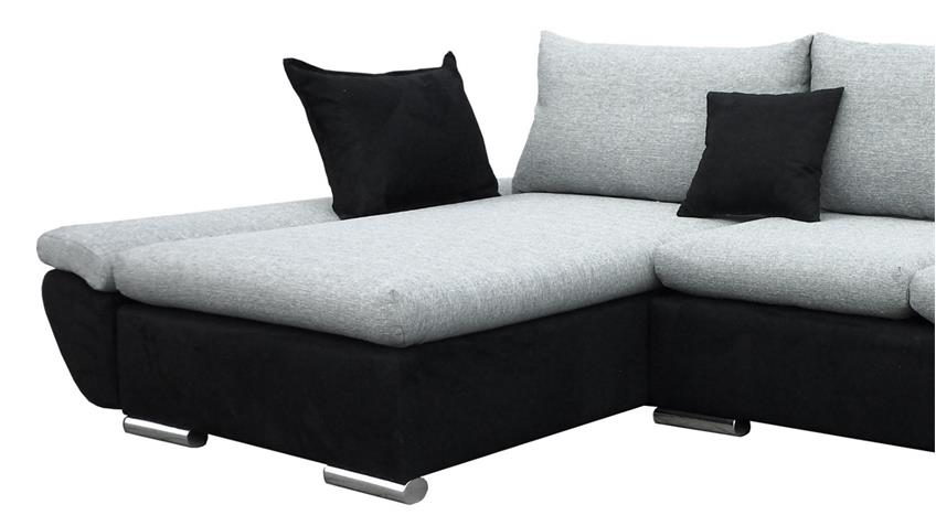 ecksofa meteor schwarz grau inkl kissen und nosagfederung. Black Bedroom Furniture Sets. Home Design Ideas